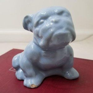 3/$20 Vintage blue ceramic bulldog planter